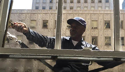 Last Strap Hanging Window Washer In New York