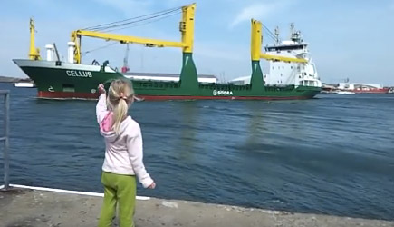 Little Girl vs Ship Horn