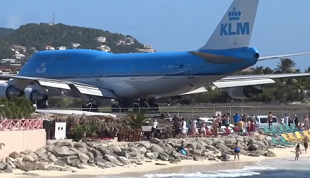 KLM Jumbo Jet Boeing 747 Blast People In To The Sun Set Beach At St. Maarten