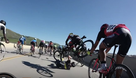 Santa Barbara Road Race Final Sprint Crash