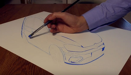 Stefan Pabst - VW Golf Speed Drawing In 3D