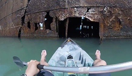 Kayaking Through An Abandoned Ship