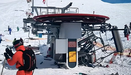 Ski Lift Malfunction In Gudauri, Georgia
