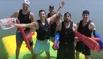 Dude Perfect - Nerf Blasters Floating Island Battle