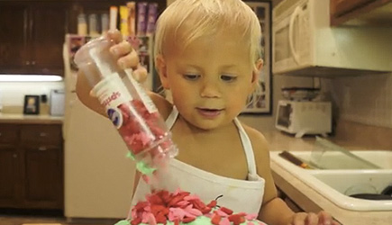 Roman's Cooking Corner - 2 Year Old Bakes Cake